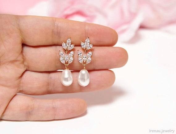 Bridal Pearl Earrings Crystal Rose Gold Earrings Swarovski Etsy
