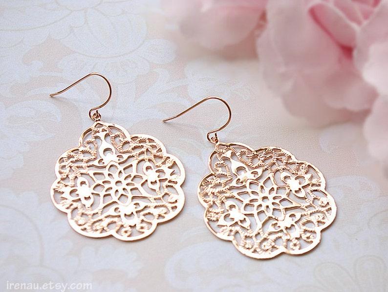 091da248f110 Rose gold earrings Filigree modern earrings big lace Large