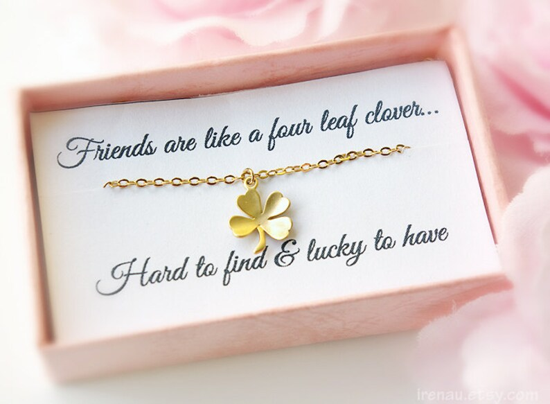 good fortune necklace four leaf luck necklace Cute Gold Necklace Lucky Gold Jewelry Best friend gift Shamrock necklace four leaf clover