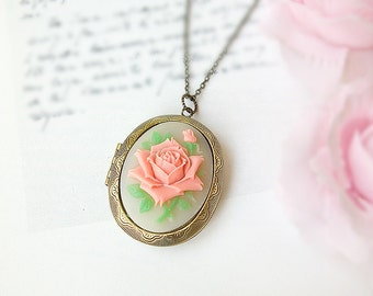 Cameo locket necklace rose , pink ivory floral necklace large oval locket, vintage style victorian photo locket necklace  Christmas Gift