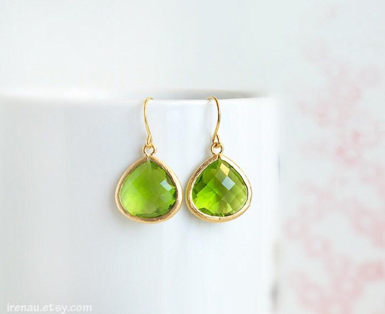 072f9885c Apple green glass earrings drop August birthstone Peridot | Etsy