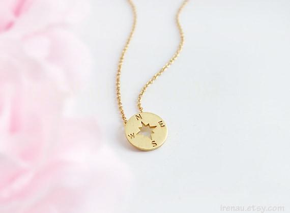 Necklaces for women  compass necklace  gold necklace  minimalist necklace  dainty necklace  wind rose necklace  necklaces  K11061