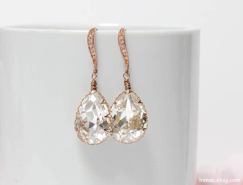 23446d4b7cab78 Crystal bridal earrings Rose gold wedding dangle teardrop CZ   Etsy