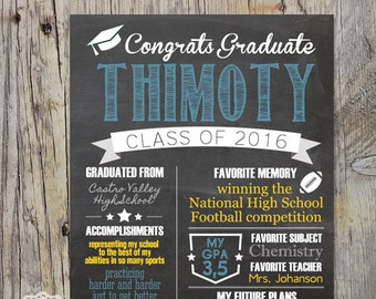 Graduation poster - high school graduation chalkboard sign - printable graduation gift - blue yellow chalkboard highshool graduation sign