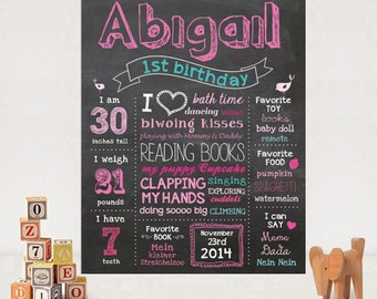 <p>First Birthday Hot Pink Chalkboard sign Printable - 1st birthday Chalk  board poster - Pink theme - DIGITAL FILE!</p>
