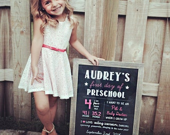 Girls first day of preschool sign - personalized preschool photo prop - pink Chalkboard Sign - DIGITAL FILE!