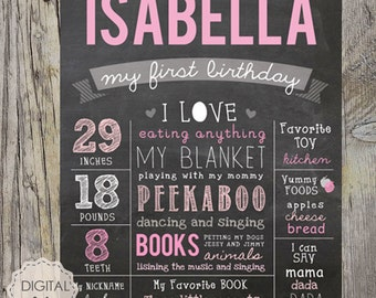 Blush pink 1st birthday chalkboard sign - Girls photo prop baby pink Chalkboard poster - Custom color and any age - DIGITAL file!