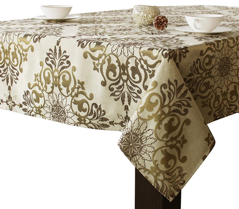 ASSORTED SIZES Jacquard Fabric Holiday Tablecloths Gold /Brown Color By  DIRECT2HOME NEW