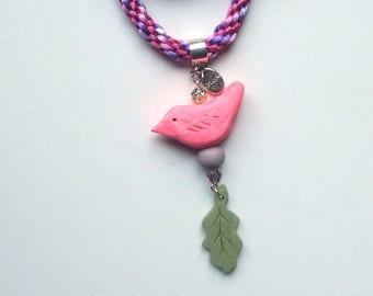 "Raspberry Lilac Lark - Little Birds ""Spirit"" Necklace"