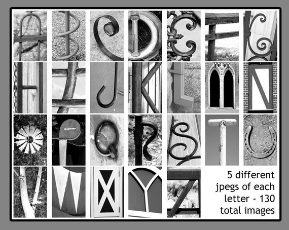 Alphabet Pictures For Each Letter Black And White.Black And White Alphabet Photography Download Create Personalized Diy Last Name Letter Art With 4x6 Jpeg Alphabet Photos