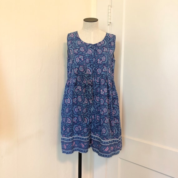 Vintage 1980s 1990s Paisley Romper Babydoll Indian