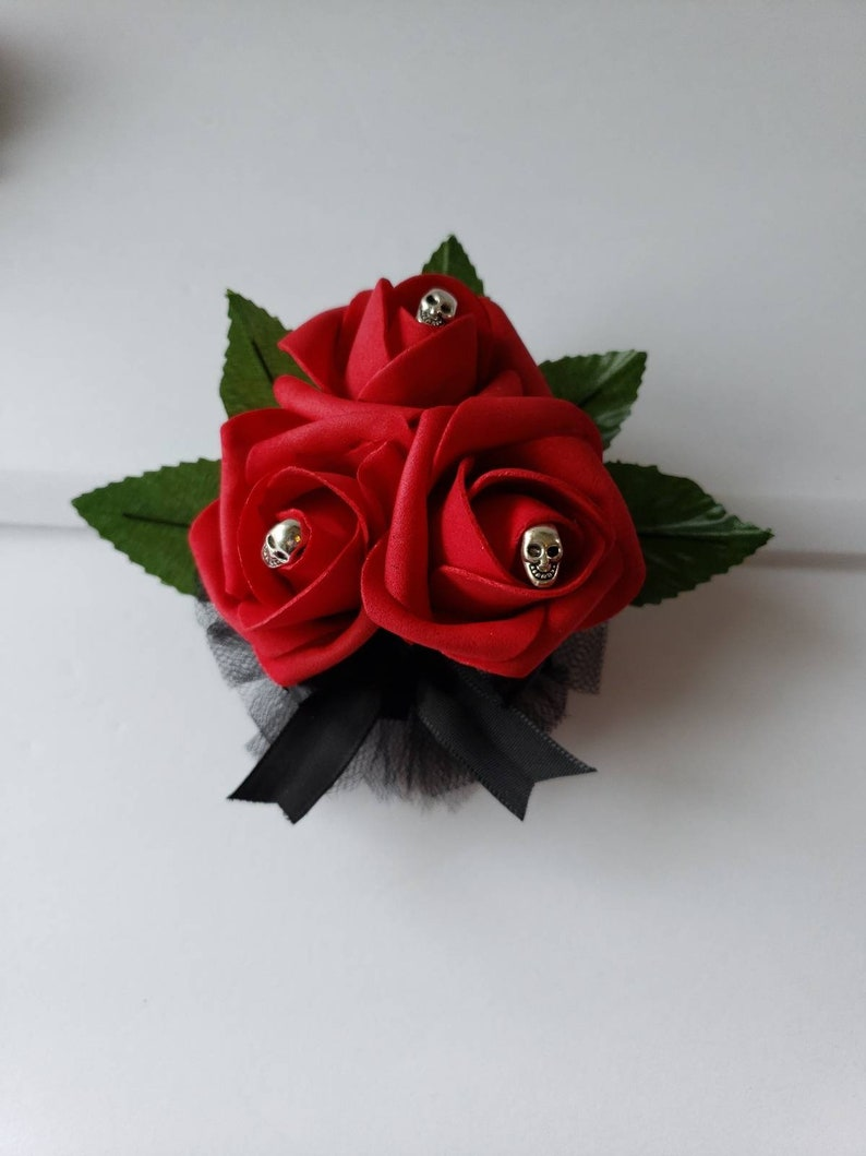 Matching Bouquets Available Gothic Skull White And Pink Boutonniere,Goth Corsage,25 Colors Available,Corsages Available In Pin On And Wrist
