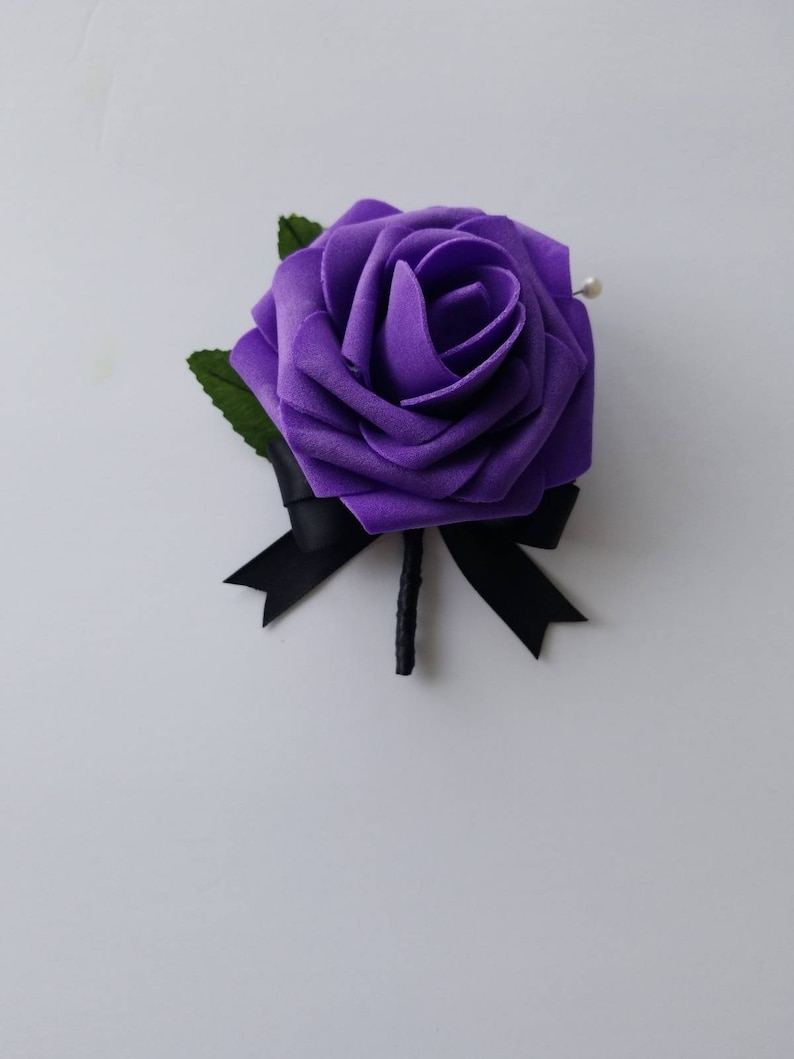 Matching Bouquets Available Purple And Black Boutonnieres And Corsages 25 Colors Available Corsages Available In Pin On And Wrist