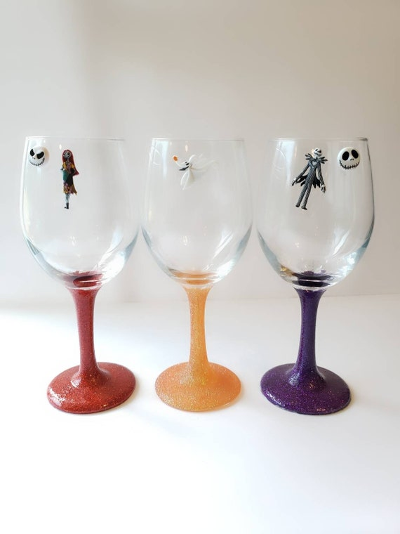 Halloween wine glass charms wine glass markers stemless wine glass charms Nightmare Before Christmas magnetic wine glass charms