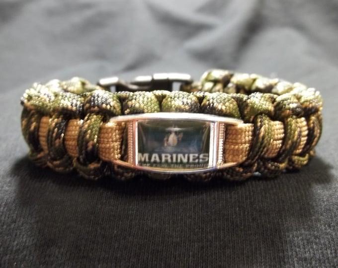 HANDMADE United States Marine Corps Inspired 550lb Paracord Survival Bracelet USMC