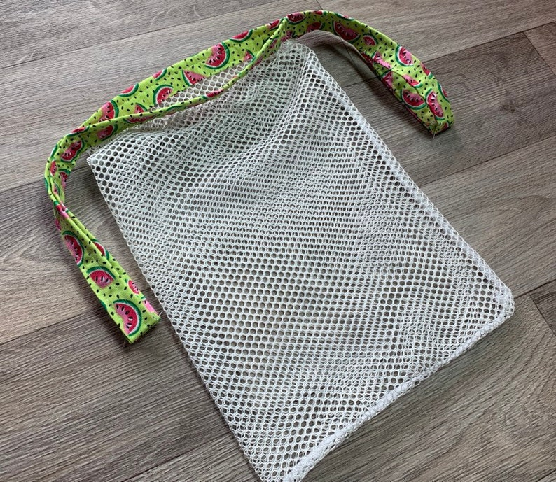 Reusable produce bag; laundry bag; farmers market; tote; shell collecting bag