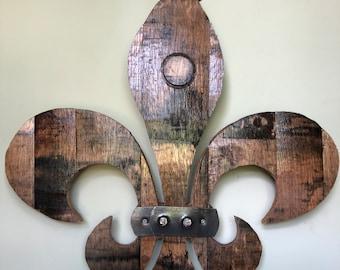 Custom Kentucky Bourbon Barrel Fleur de Lis Wall Hanging.