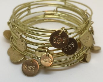 Hand Stamped Area Code Charm Bracelet.  502 Louisville, Kentucky Coin Bracelet.  Can Personalize FREE SHIPPING