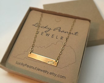 Hand Stamped Kentucky Bar Necklace.  Gold or Silver Kentucky Necklace FREE SHIPPING
