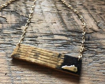 Kentucky Whiskey Bourbon Barrel Bar Necklace - Gold or Silver