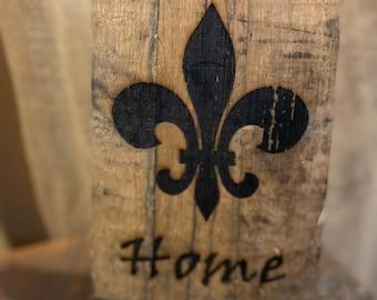 Genuine Kentucky Bourbon Barrel Stave Fleur de Lis Wall Art Decor