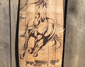 Bourbon Barrel Horse Thoroughbred Wall Art - Whiskey Barrel Wall - Wood Burning Art