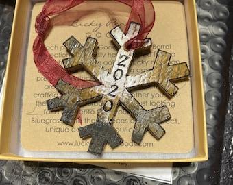 Kentucky Bourbon Barrel Snowflake Christmas Tree Ornament - Monogram or Customize