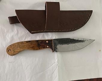 Bourbon Barrel Handle Damascus Hunting Knife