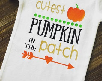 Cutest Pumpkin In The Patch; Fall Onesie; Baby Fall Outfit; Fall Outfit; Pumpkin Onesie