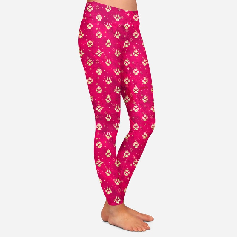 Holiday Paws Leggings with Yoga Waist and HIDDEN Pocket