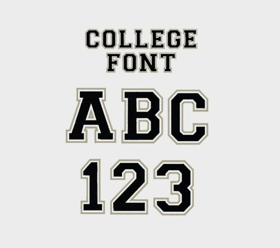 College Outline Embroidery Machine Font, 1/2