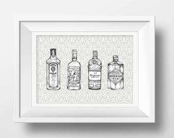 Gin Print | Original Illustration Artwork | Rustic Art Print