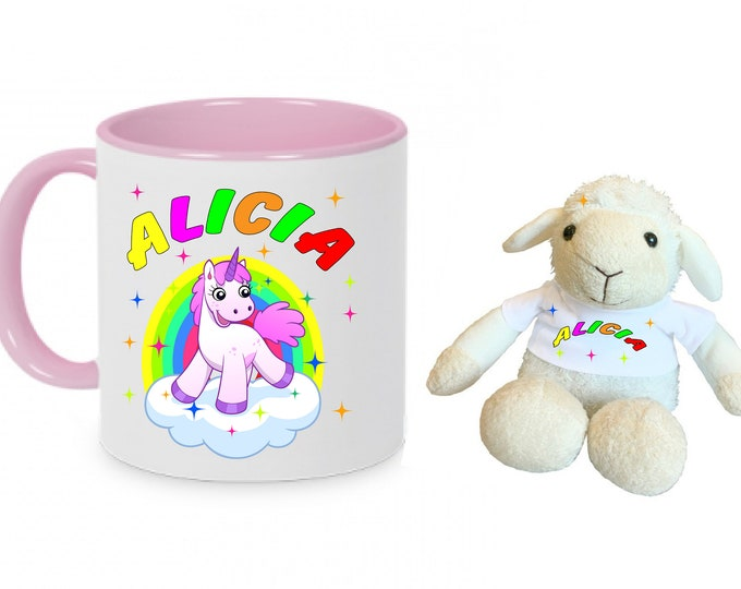 Gifts-Sets Children Cup cup little unicorn with name + cuddly gift Item Sheep + Name