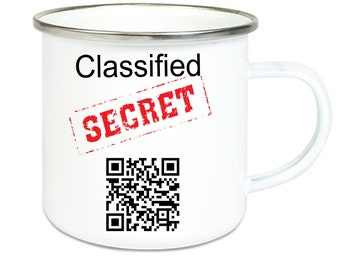 Enamel-cup coffee mug cup with QR code with secret message: Agent X