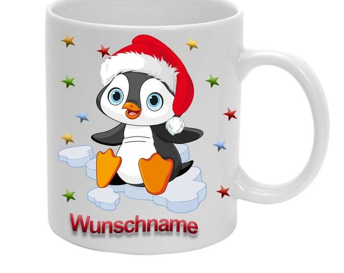 Cup Penguin + Name Children's Mug Christmas
