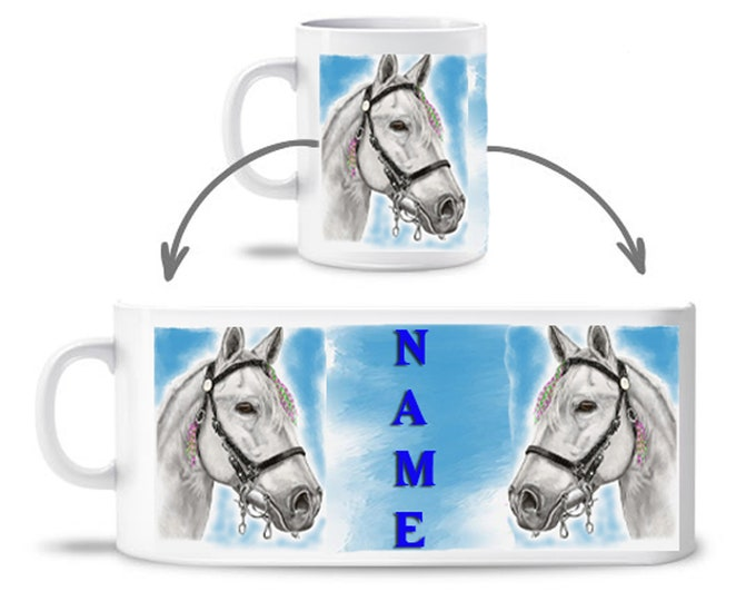 Horse cup kids horse white mug ceramic od. plastic