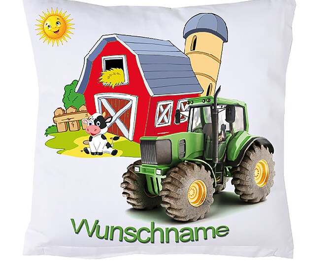 Farm Pillow Zoo Animals + Name Trekker Tractor