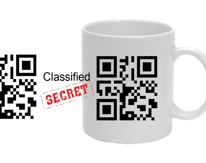 Personalized mug with QR code with secret message: Agent X