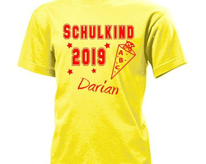 T-Shirt schoolchild 2019 schooling + wish name