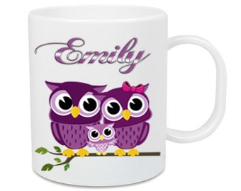 Plastic Owl Owl + Name cup