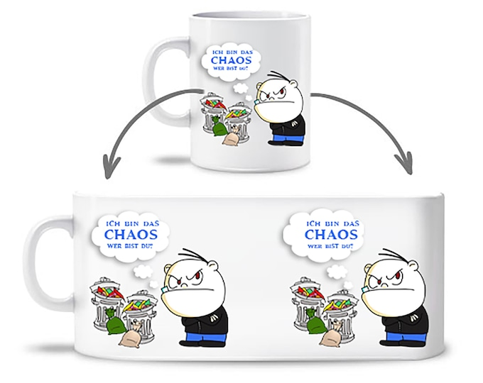 "Cup ""I am the CHAOS"" saying"