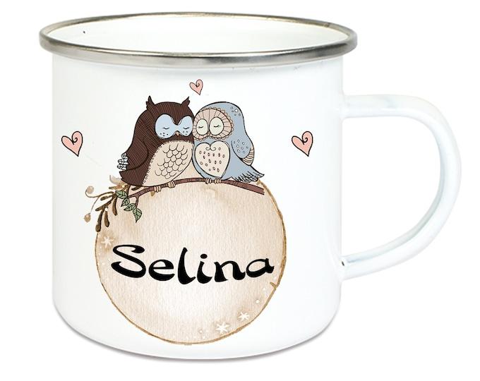 Enamel Mug Camping Cup Motif EULEN & Wish Name Name Coffee Cup Gift