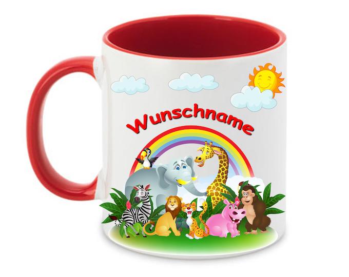 Mug named animals Elephant Lion