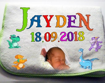 Cuddly soft photo Baby blanket with name + date of birth-green
