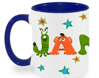Cup with name birthday cup Monsters