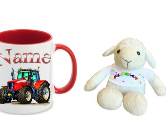 Gifts-Sets Children cup cup tractor with name + cuddly gift Item Sheep + Name