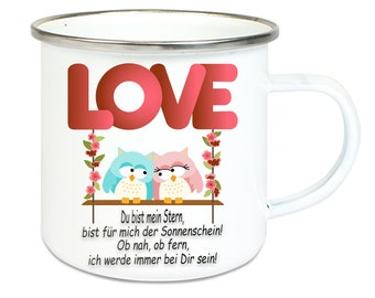 Emailletasse coffee mug with silver stainless steel rim with saying Love owl owl