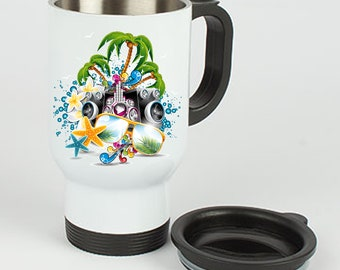Stainless Steel Thermo Mug Party Beach Music