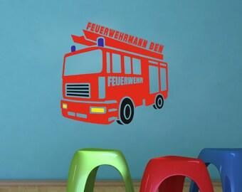 Walltattoo Wall Sticker Children's room with fire brigade man name