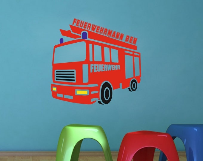 Walltattoo Wall Sticker Children's room with fire brigade man name